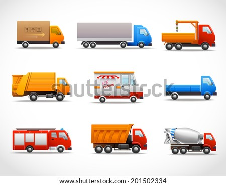 Realistic truck lorry transport van auto set isolated vector illustration