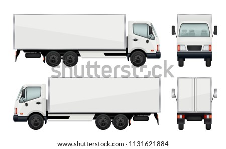 Realistic truck. Vector illustrations transportation of cargo. Truck transport, cargo lorry with trailer