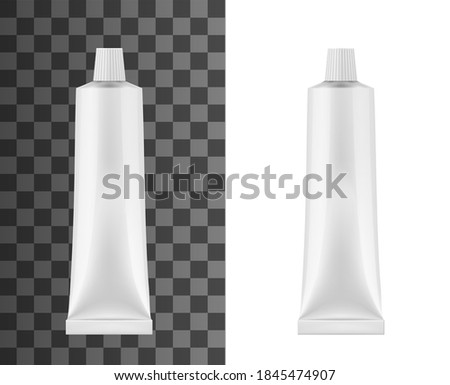 Realistic tube for toothpaste or cream isolated 3d vector mockup. Blank white tooth paste metal container with ribbed screw cap, cosmetic moisturizing cream tube or medical ointment package mock up Foto stock ©
