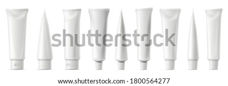 Realistic tube mockup. White plastic tuba for toothpaste, cream, gel and shampoo. Blank packaging front and side view vector mockup. Template for medicine or cosmetics set illustration Foto stock ©