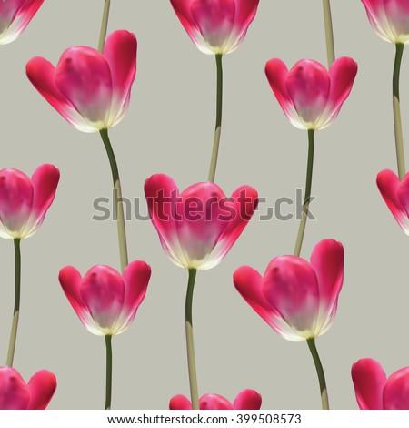 realistic tulips vector