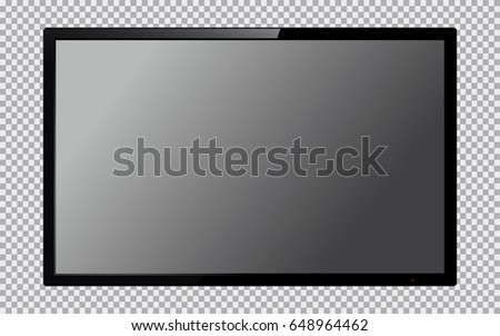 Realistic TV screen. Computer monitor display mockup. Blank television template. Vector illustration.