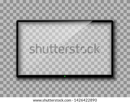 Realistic TV screen. Empty TV frame transparent background. Modern stylish lcd monitor, led type. Blank television template – for stock