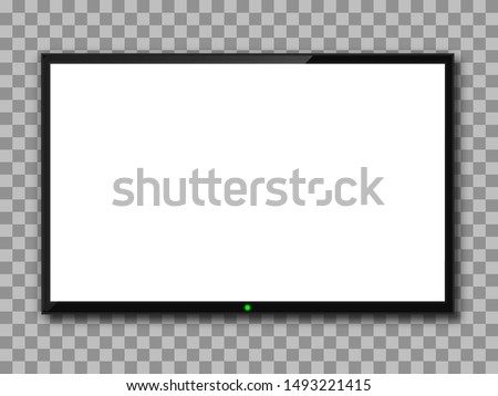 Realistic TV screen. Empty TV frame transparent background. Modern stylish lcd monitor, led type. Blank white television template – stock vector