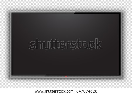 Realistic TV Screen Isolated. Modern LCD Panel, LED Display. Design Element for Catalog, Web, Video as Mock up. Stylish Blank  Television, Separate Groups and Layers. Easily Editable Vector.