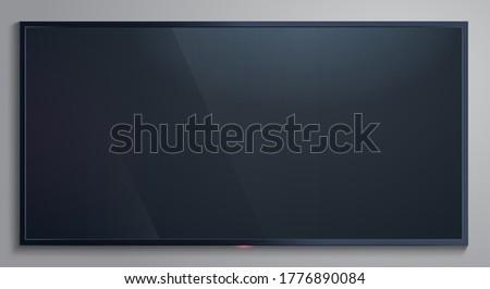 Realistic tv screen. Lcd modern blank display, television monitor screen mockup, lcd panel isolated vector illustration. Tv screen realistic, television led blank Foto d'archivio ©