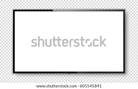 Realistic TV screen. Modern lcd wall panel, led type, isolated on white background. Large computer monitor display mockup. Blank television template. Graphic design element. Vector illustration
