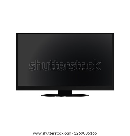 Realistic TV screen. Modern stylish lcd panel, led type. Large computer monitor display mockup. Blank television template. Graphic design element for catalog, web site, as mock up. Vector illustration