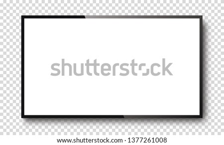 Realistic TV screen on a isolated baskgound. 3d blank led monitor - stock vector.