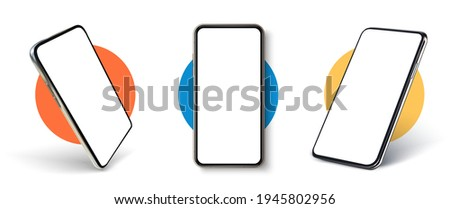 Realistic UI, UX phone mockup. Smartphone blank screen, phone mockup. Template for infographics or presentation UI design interface. Cellphone frame with blank display