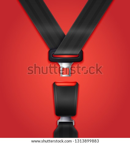 Realistic unblocked passenger seat belt with fastener and black strap on red background vector illustration