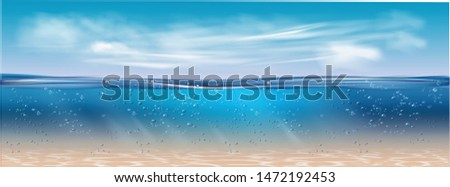 Realistic underwater background. Ocean deep water, sea under water level, sun rays blue wave horizon. Water surface 3D vector concept.