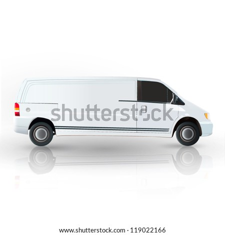 Realistic van isolated on white. Vector design.