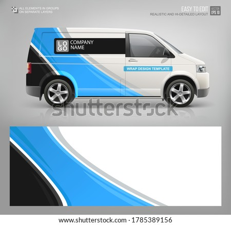 Realistic Van mockup and wrap decal for livery branding design and corporate identity company. Abstract graphic of blue stripes Wrap, sticker and decal design for services van  and racing car