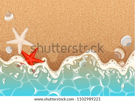 Realistic vector background of a sandy beach with azure foamy wave, starfish and shells.