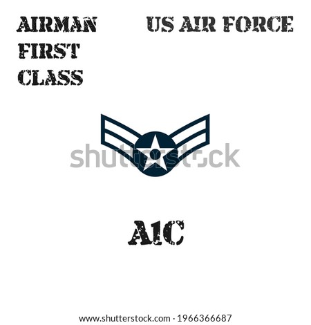 Realistic vector badge of the armband of the chevron of the Airman First Class of the US Air Force. ストックフォト ©