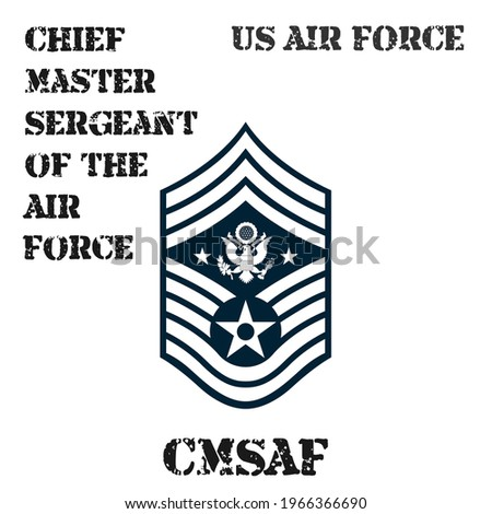 Realistic vector badge of the armband of the chevron of the Chief Master Sergeant of the Air Force of the US Air Force. ストックフォト ©