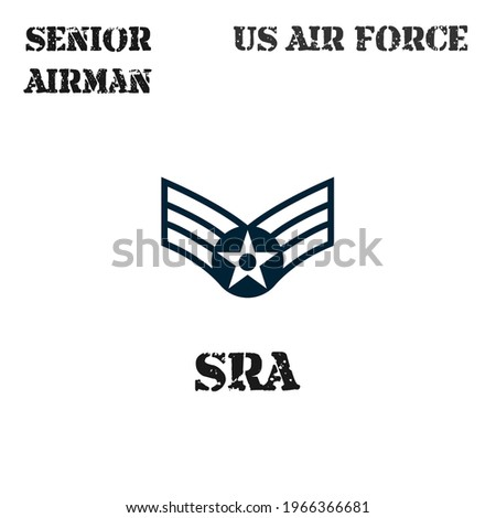 Realistic vector badge of the armband of the chevron of the Senior Airman of the US Air Force. ストックフォト ©