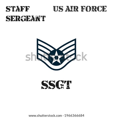 Realistic vector badge of the armband of the chevron of the Staff Sergeant of the US Air Force. ストックフォト ©