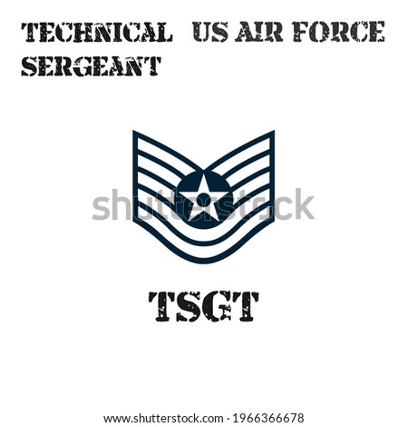 Realistic vector badge of the armband of the chevron of the Technical Sergeant of the US Air Force. ストックフォト ©