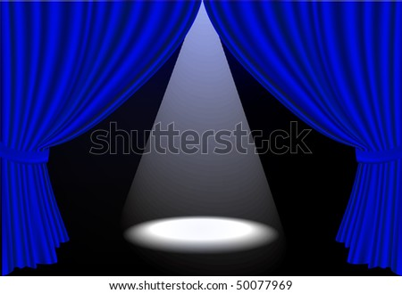 Realistic vector blue stage curtains and spot light