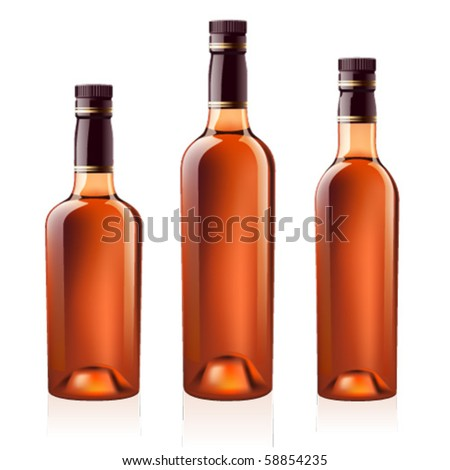 Realistic vector bottles of cognac (brandy). Isolated on white background