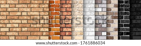 Realistic Vector brick wall seamless pattern set. Flat wall texture. Yellow, gray, red, white, black textured brick background for print, paper, design, decor, photo background Foto stock ©