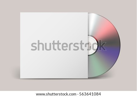 Realistic vector cdwith cover icon. Design template.