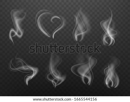 Realistic vector cigarette smoke isolated set.