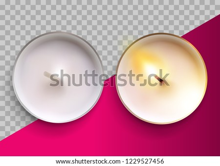 Realistic Vector Classic Candle in a Metal Cup. Lit and Unlit White Wax Tealight Candles. Top View. Festive Design Element for Christmas Card, Wellness Banner, Romantic Valentines Day Template.