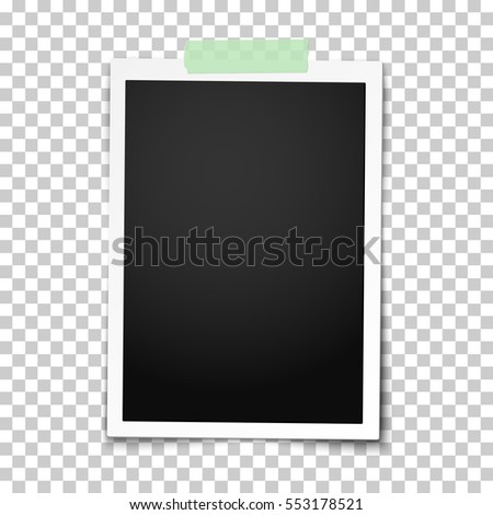 Realistic vector classic photo frame with straight edges on light green adhesive, sticky tape placed vertically on transparent background. Template photo design