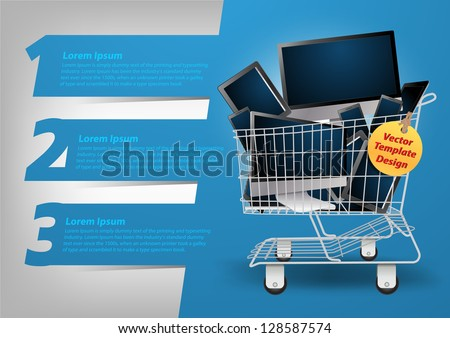 Realistic vector computer concept in the shopping cart, With Modern Design template / infographics / numbered banners, Colorful presentations with letters numbers