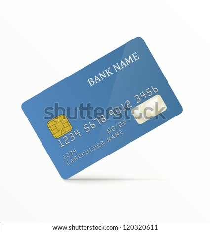 Realistic vector credit card. Blue, without any pattern. EPS10 vector.