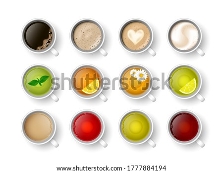 Realistic vector 3d cup of hot beverage set. Teacup with green, black lemon tea , mint, herbal chamomile tea, rooibos, Masala tea and coffee assortment cappuccino, latte, espresso, americano top view. Foto stock ©
