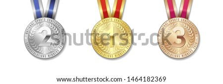 Realistic vector 3d gold, silver and bronze award medal icon set with color ribbons isolated on white background. The first, second, third place on sport tournament, victory concept vector prizes