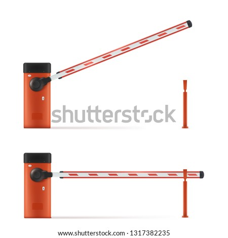 Realistic Vector Detailed Illustration Of Open And Closed Car Barrier. Barrier In The Parking Lot