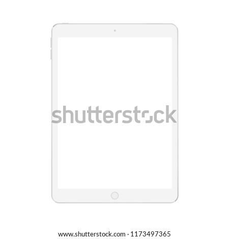 Realistic vector digital soft white tablet mock up with white blank screen.