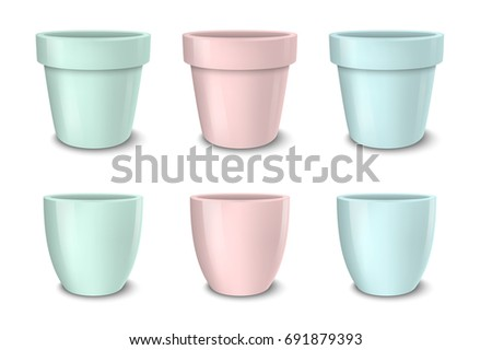 Realistic vector empty flower pot set, pastel colors - pink, green and blue. Closeup isolated on white background. Design template for branding, mockup. EPS10.