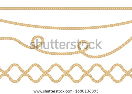 Realistic vector fiber ropes isolated on transparent background.  Stockfoto ©