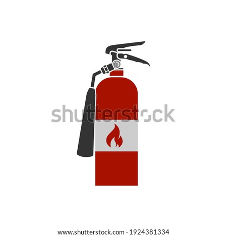 Realistic vector fire extinguisher icon. Portable device for extinguishing fires by releasing stored extinguishing agent. Foto stock ©