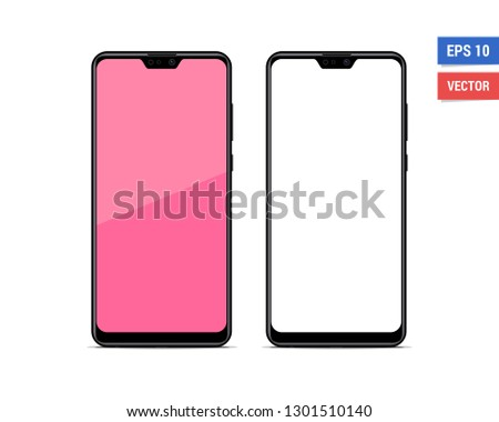 Realistic vector flat mock-up smartphone isolated on white background. Scale image any resolution
