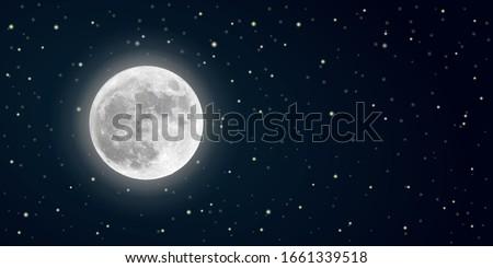 realistic vector full moon in