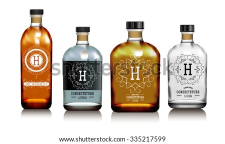 realistic vector glass bottles