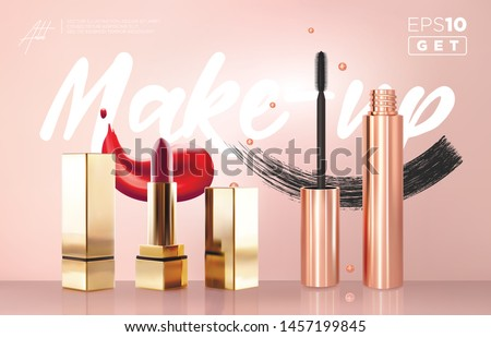 Realistic vector golden Mascara Bottles and lipstick set. Lipstick, brush and mascara tube. Black wand and golden tube on rose-gold background. Fashionable cosmetics Make up smears for eyes and lips.