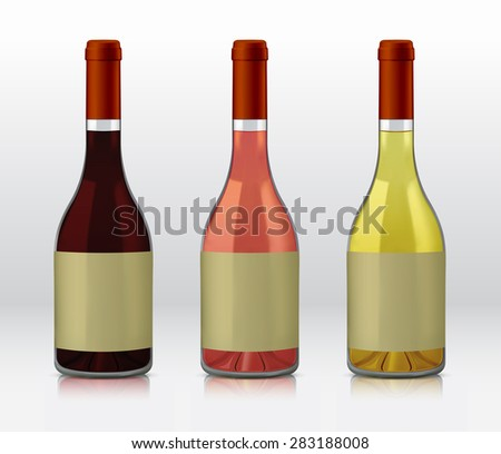 Realistic vector graphic bottles of wine selections. Red wine, rose, and white wine #283188008