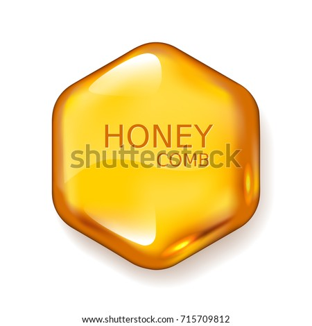 Realistic vector honey drop. Hexagon on white background. Eps10. RGB. Global colors