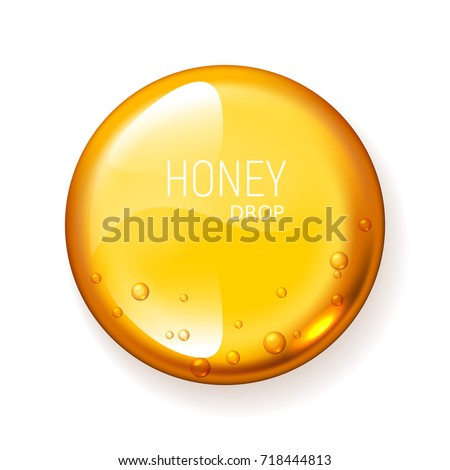Realistic vector honey drop on white background. Eps10. RGB. Global colors