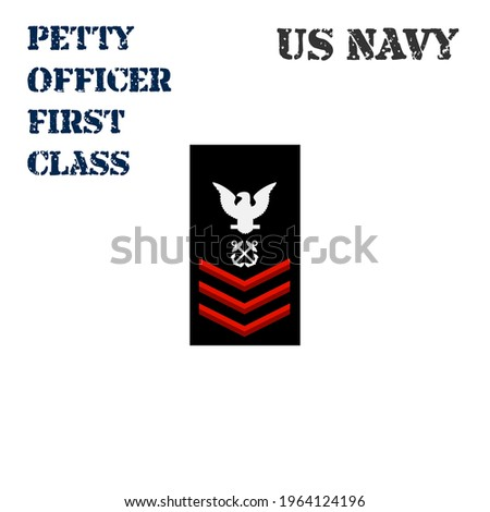 Realistic vector icon of the armband chevron of the Petty Officer First Class of the US Navy. ストックフォト ©