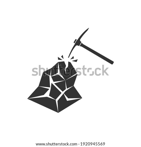 Realistic vector icon of the mining tool pickaxe. Underground work. Impact on iron ore. Foto d'archivio ©
