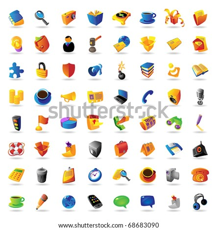 Realistic vector icons set on white background.
